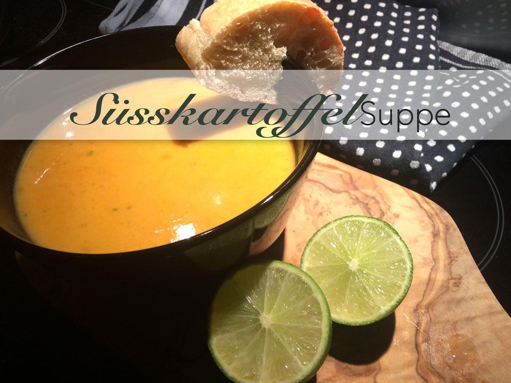 Süsskartoffel, Suppe, Süßkartoffel, Süsskartoffel, Limette, Shrimps