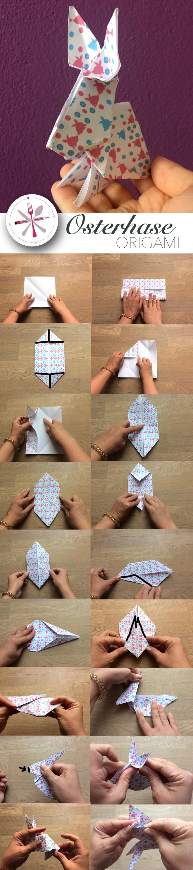 Ein Osterhase aus Origami. Das passende Papier dazu findet Ihr bei mir auf dem Blog.